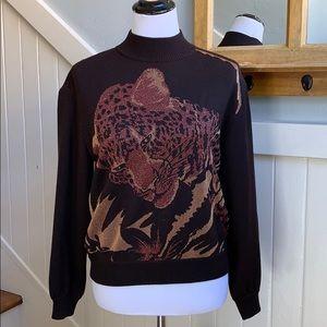 ST. John Sport Leopard Cat Metallic Sweater Brown